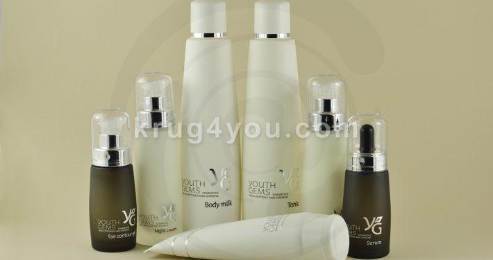 7 средств косметики YOUTH GEMS для любого типа кожи и любого возраста: дневной крем, гель для век, тоник, сыворотка, ночной крем, маска, молочко для тела