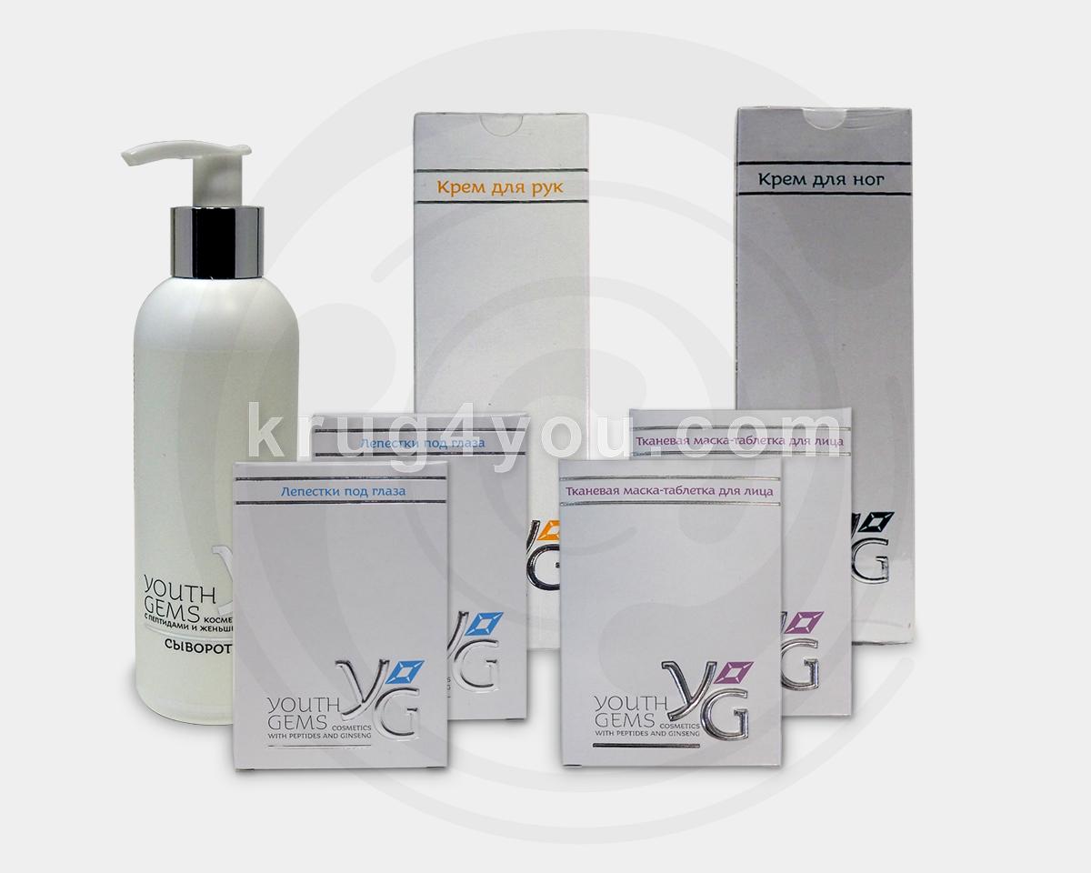 Youth Gems набор косметики для кожи лица, рук и ног: крем для рук, крем для ног, сыворотка 200 мл,Лепестки - 2 упаковки, Тканевая маска - 2 упаковки